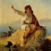 Neapolitan shepherd on the seashore