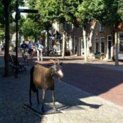 Sculpture of goat in Oost-Vlyland, Netherlands