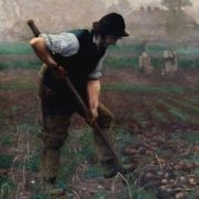 Thomas Frederick Mason Sheard A Man Digging Potatoes. 1890