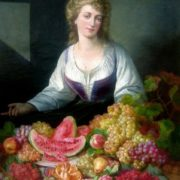 Andreas Lach Lady with Fruits Still-Life. 1855