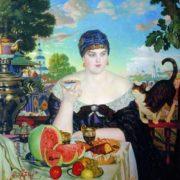 Boris Kustodiev. The merchant at tea. 1918