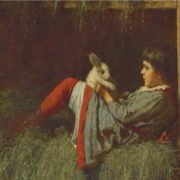 Eastman Johnson, Child Playing with Rabbit, 1878