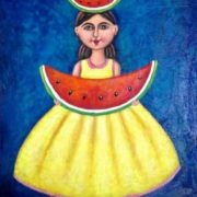 Esau Andrade. Young Girl with Watermelons on Yellow Dress