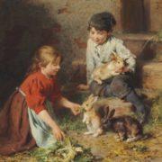 Felix Schlesinger. Futterung der Kaninchen