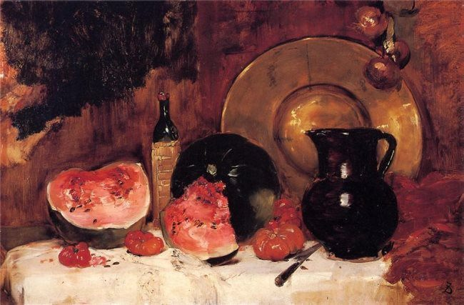 Frank Duveneck. Still Life with Watermelon, 1878
