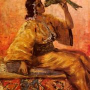 Frantz Charlet. A Moroccan Beauty Holding A Parrot
