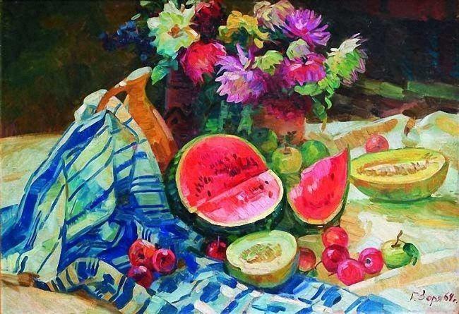 Galina Zorya. Still life with watermelon and melons. 1964