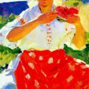 Konstantin Lomykin. Peasant woman with watermelon 1950s