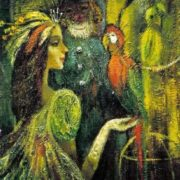 Lusia Vasina. The Lady with Parrots