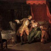 Madame Bouvillon is asking Ragotin to look for fleas. Jean-Baptiste Pater, 18th century