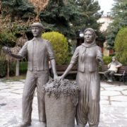 Monument to grape pickers in Cappadocia, Turkey