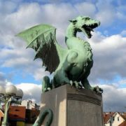 Monument to the dragon in Ljubljana, Slovenia