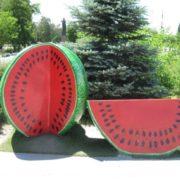 Monument to watermelon in Kherson, Ukraine