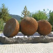 Monuments to oranges in Camyuva, Turkey