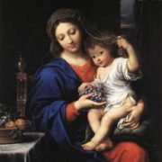 Pierre Mignard. Madonna with grapes, 1640s