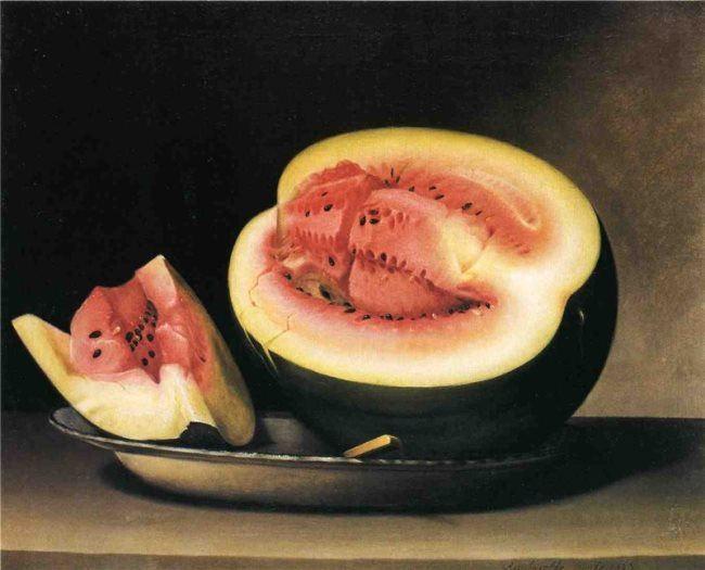 Raphaelle Peale. Still Life with Watermelon. 1822