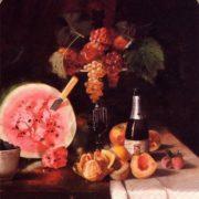 William Merritt Chase. Still Life with Watermelon. 1869