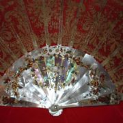 19th century Mother-of-Pearl and Brussels lace fan