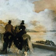 Edgar Degas. Two riders on the lake, 1860