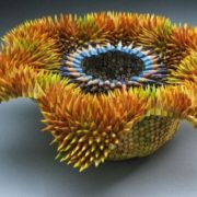 Graceful sculpture of pencils by Jen Maestre