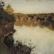 Isaak Ilich Levitan. Forest Lake. Sunset