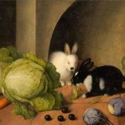 Johann Georg Seitz. Rabbits and vegetables