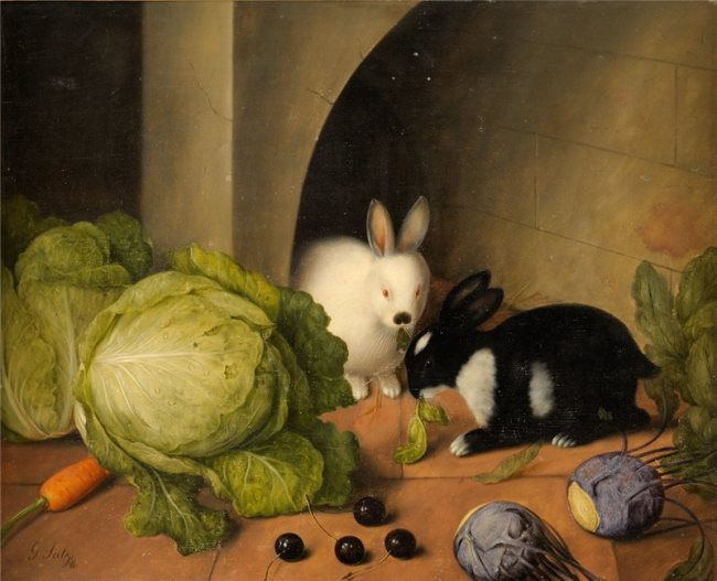 Johann Georg Seitz. Rabbits and vegetables