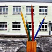 Monument to pencils in Novosibirsk Region, Russia