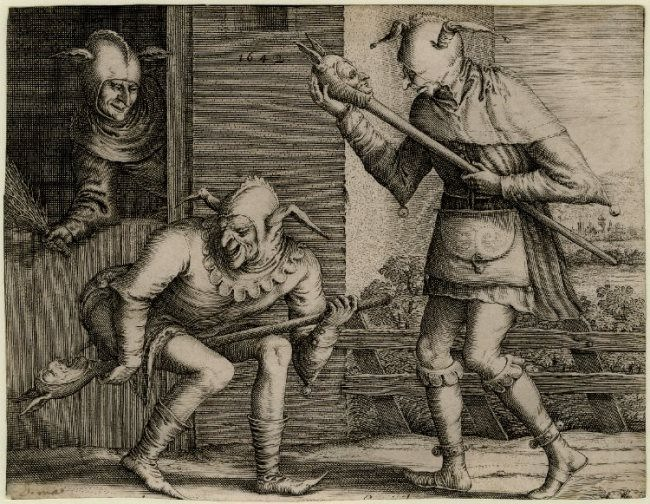 Pieter Bruegel the Elder. Three Fools of Carnival; three fools playing with their fool's baubles. 1642