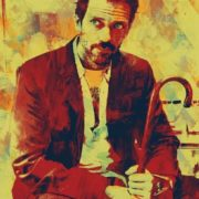 Portrait of Hugh Laurie. Unusual paintings by Vinicius Quesada