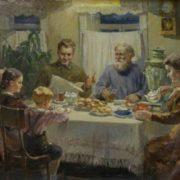 Vasily Bajuskin. At dinner. 1950's