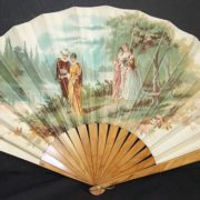 Victorian era lovers lithography print fan dates from 1890