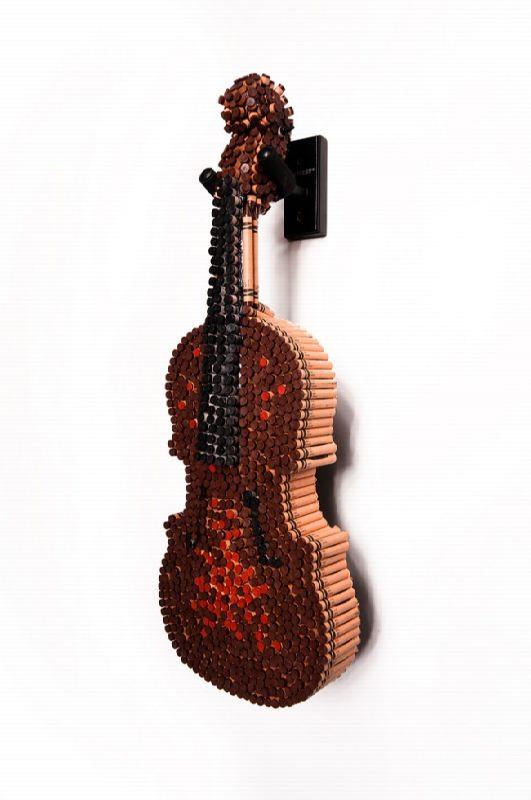 Violin made of pencils
