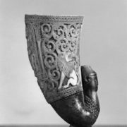 African Carved Ram's Horn Cup with Lions and Mounted Rider