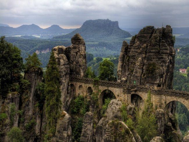 Bastai Bridge over the Elbe River, Schweiz National Park, Saxony