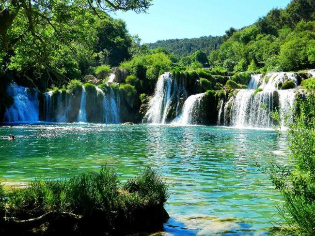 Beautiful waterfall in Croatia