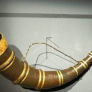 Drinking horn from Hochdorf, an iron horn with a gold ornament