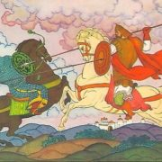 Fight of Ilya Muromets with his son. Artist V. Fokeev