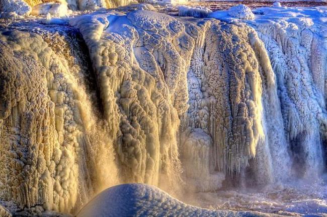 Frozen Rideau Falls in Canadian Ottawa