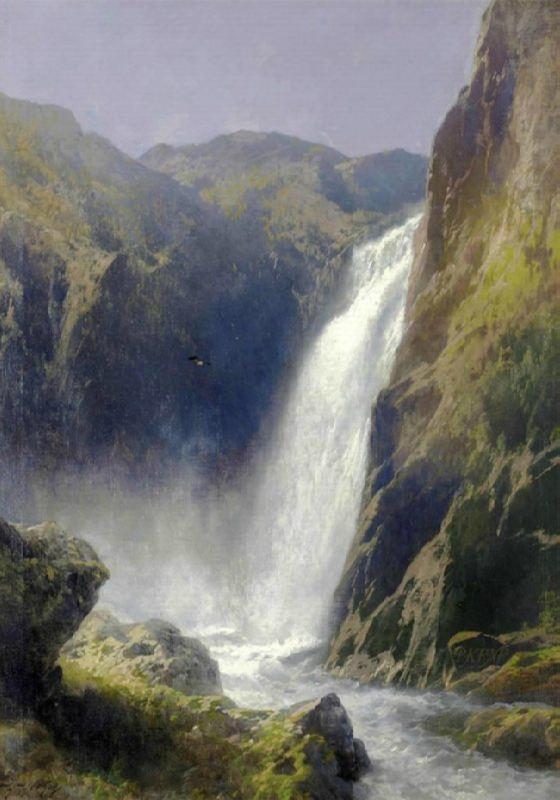 Hermann Herzog. Voeringfoss, Hardanger, Norway