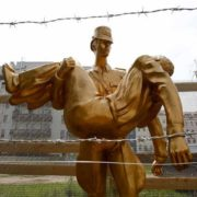 Sculpture by Florian Brauer, June 16, 2011, created for the 50th anniversary of the construction of the Berlin Wall. Photo by Fabrizio Bensch Reuters