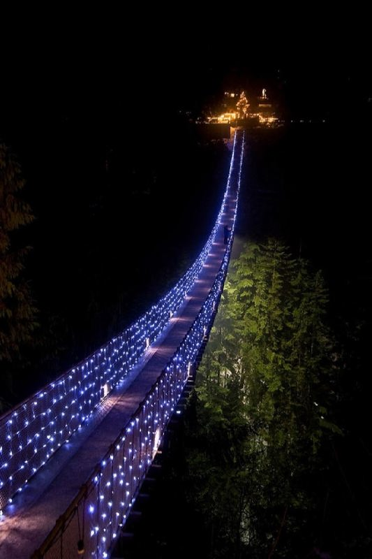 Suspension bridge across the Kapilano River, Vancouver, Canada