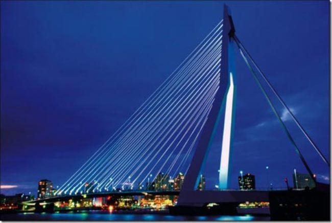 The Erasmus bridge in Rotterdam is the longest drawbridge in the world