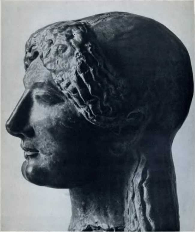 The head of a girl. Terracotta
