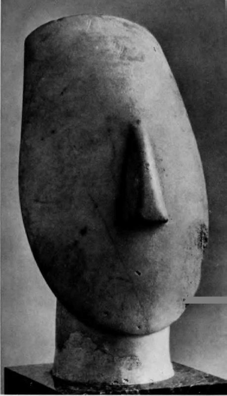 The head of the idol, from the island of Amorgos, the Cyclades. Marble