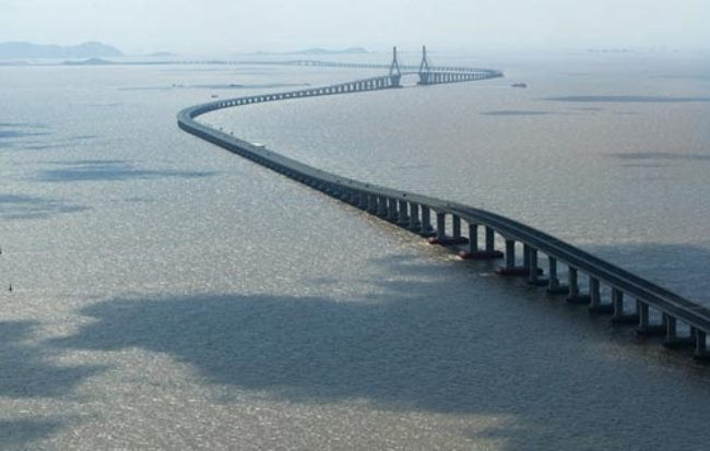 The longest automobile bridge in the world is Hangzhou in China. Its length is 36 kilometers