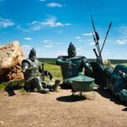 Three bogatyrs are resting in Zadonsk, Lipetsk region, Russia