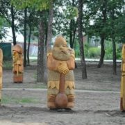 Three bogatyrs in Vladimir region, Russia