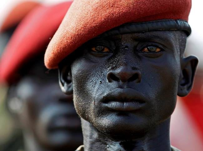 A soldier of the Sudan People's Liberation Army at the rehearsal of the parade on the day of independence