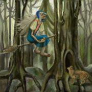 Baba Yaga in the dark forest